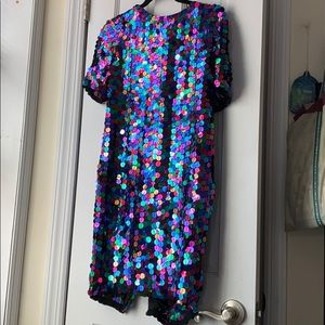 Vintage sequin rainbow party mini dress holiday